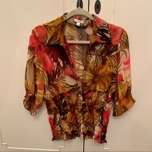 Cache tropical print blouse Large